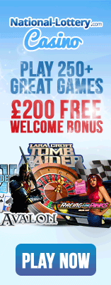 Play 250+ great games and get up to £200 Welcome Bonus at National-Lottery.com Casino